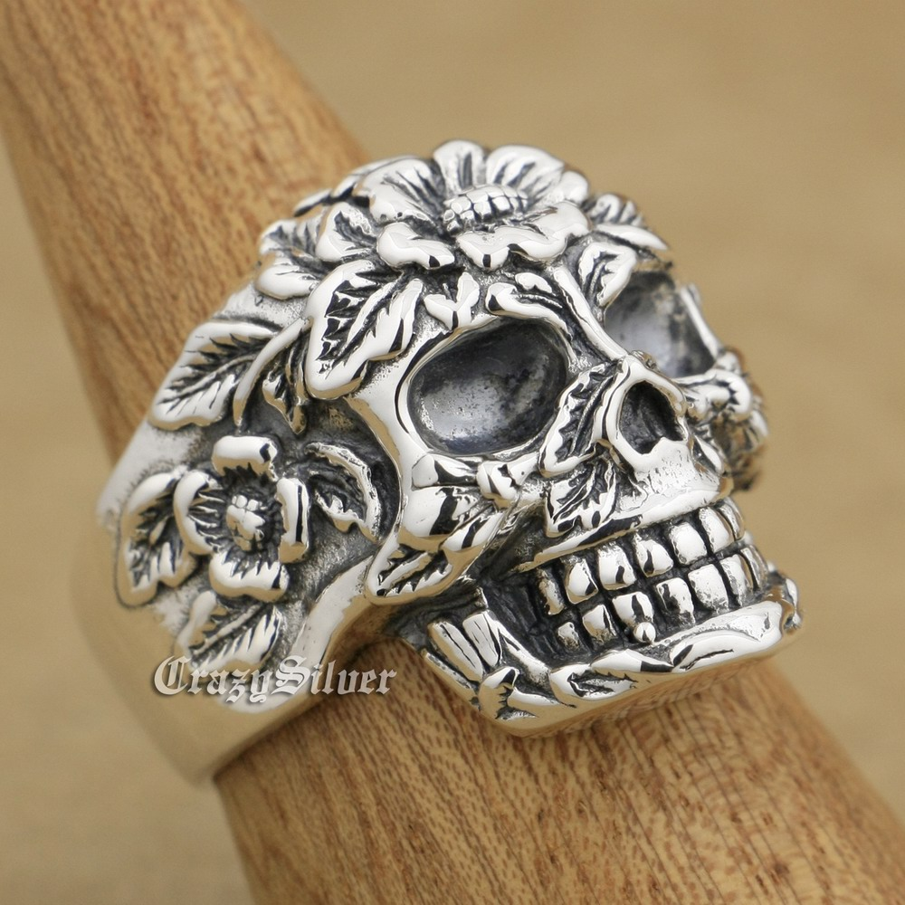 925 Sterling Silver Flower Skull Mens Biker Rocker Punk Ring 9W005 US Size 8 to 14 r003 skull shaped titanium steel ring black silver us size 8