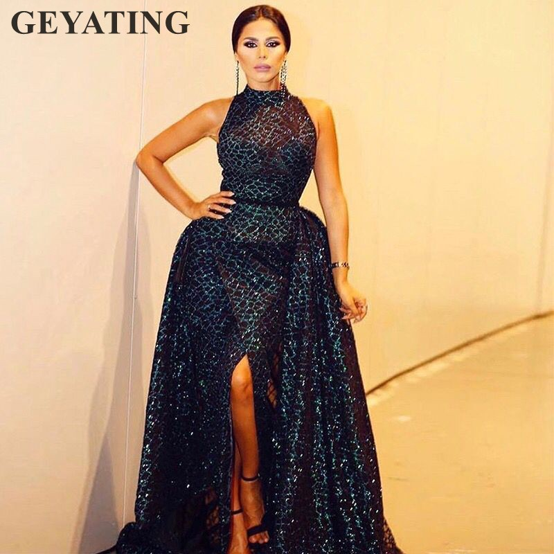 3780b3dd7d Glitter Sequined Mermaid Black Arabic Evening Dress with Detachable Skirt  High Neck Split Kaftan Dubai Formal Prom Dresses 2019