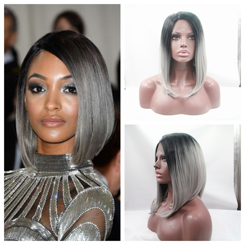 ФОТО Hot sales synthetic african american women wig natural straight short ombre grey natura looking part synthetic lace front wig