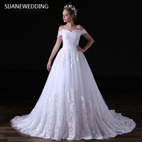 SIJANE роскошные белые кружева короткий рукав платье Sheer Вернуться Платье принцессы пол Длина с коротким шлейфом бальное платье 0392
