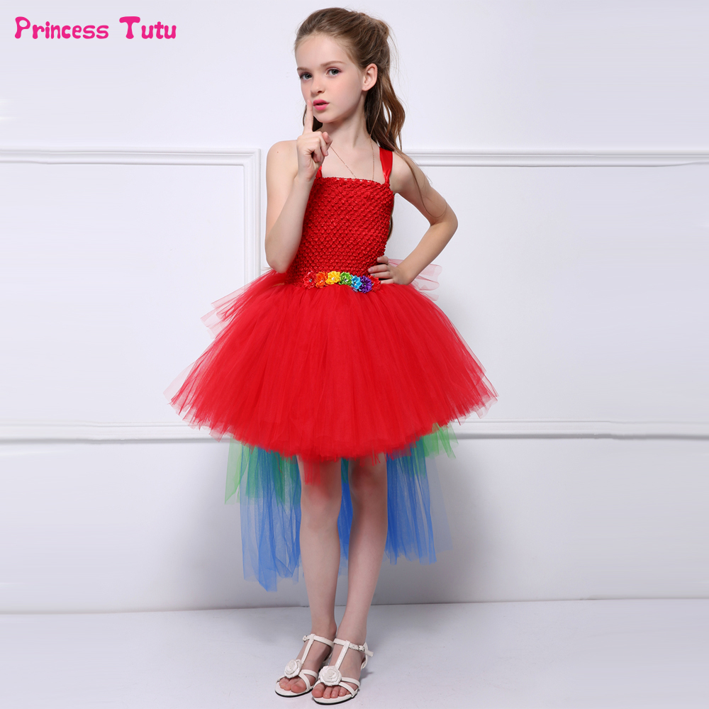 Rainbow Tail Red Girls Flower Tutu Dress Children Cosplay Unicorn Parrot Tulle Pageant Party Dress Girls Kids Halloween Costume