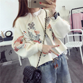 2017 new hot sale women's autumn winter o-neck long sleeve embroidery knit cardigans coat woman loose zipper sweaters coats 1118