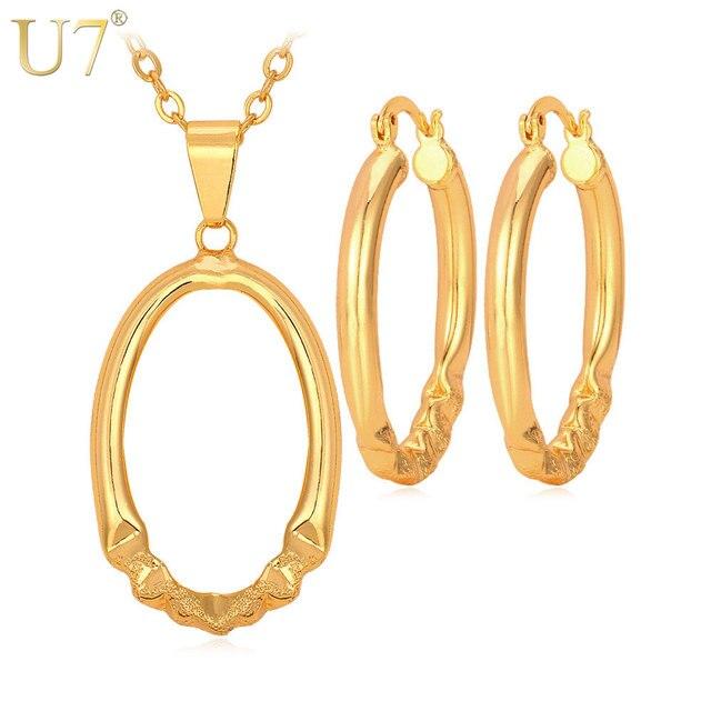 U7 תמציתי שרשרת סט זהב/צבע כסף טרנדי העגול תכשיטי ערכות תכשיטי עגילי שרשרת תליון נשים S532