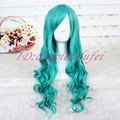 65cm long Dark Turquoise Anime Wavy Cosplay Wig + a free wig cap