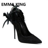 2019 Runway Feather Women Pumps Pointed Toe Shallow Slip On Sexy Stiletto Ladies Wedding Dress Shoes Woman Black Thin High Heels