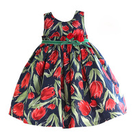 3 7 Years Tulip Floral Girls Dress Ruffle Belt Navy Girls Clothes 100 Cotton Casual Kids