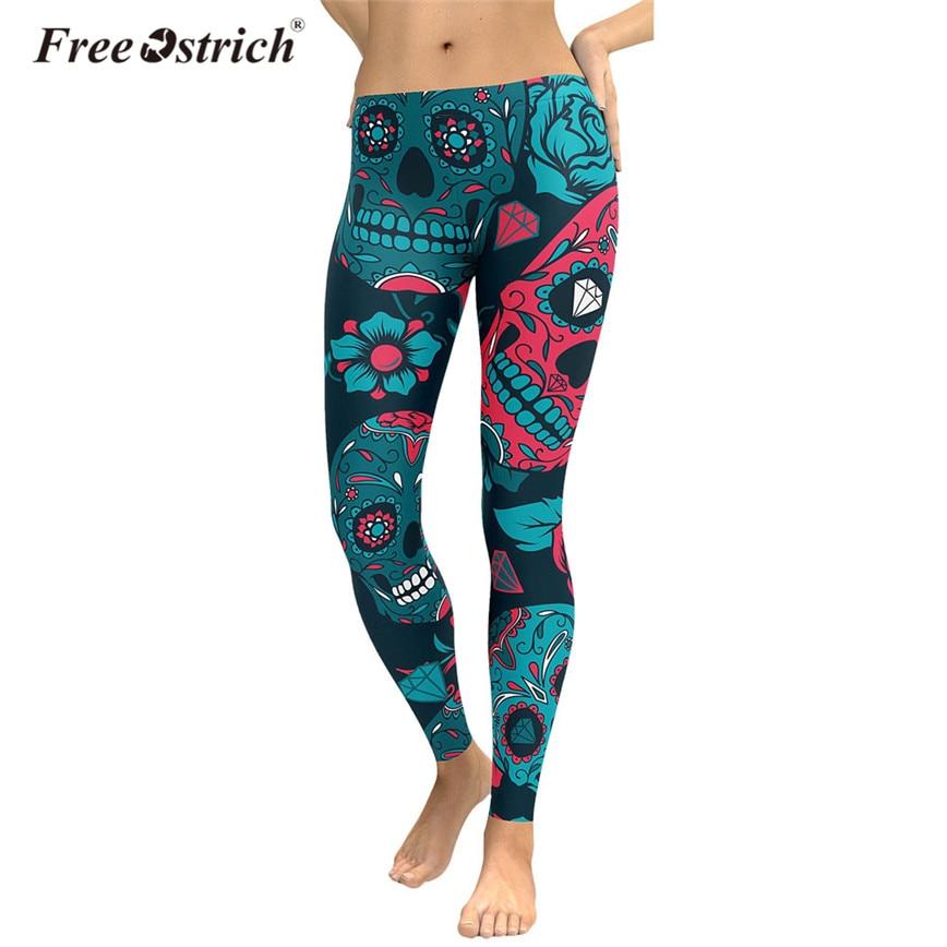 500a53a2e27 Free Ostrich Fashion Leggings Women Streetwear Head Skull Floral Print  Skinny Fitness Pants trousers women pantalon
