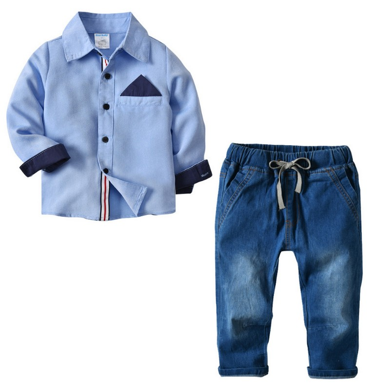 Kobeinc Boys Set Clothing 2018 New Solid Long-sleeved Shirt And Jeans Child Suit Spring Children Casual Set For Kids Boys