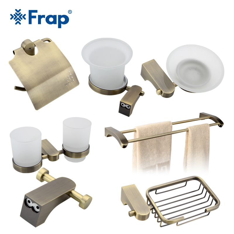 Frap Cover Toilet  Paper Towel Holder Cup Holder Toilet Brush Space Aluminium Bath Accessories 7 Pieces F14T7 free shipping wall mounted space aluminum black golden paper towel shelf phone toilet paper holder