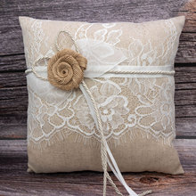 Romantic Lace Satin Wedding Ring Pillow with Silk flower bow ribbon Ivory Ceremony Cushion Bearer 8x8