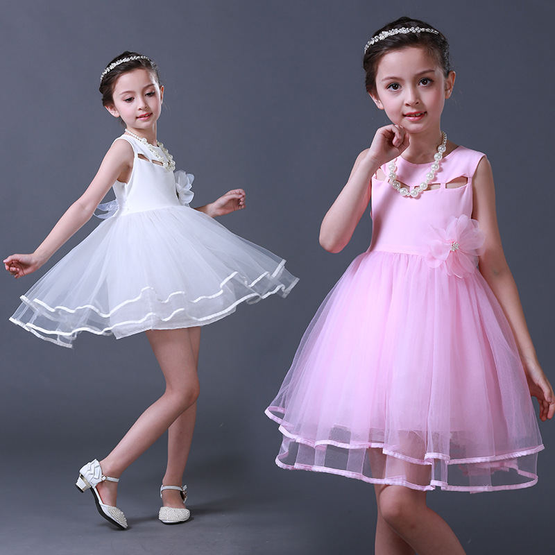 Children Girls Flower Birthday Evening Dress Kids Party Wedding Sleeveless Dresses Formal Vintage Clothes for Girl 11 12 13 14 T baby girls party dress 2017 wedding sleeveless teens girl dresses kids clothes children dress for 5 6 7 8 9 10 11 12 13 14 years