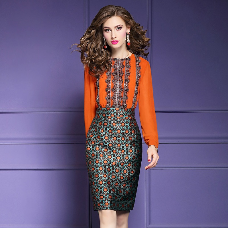 Autumn office Lady shirt dress 2018 new Superior quality Women Party Beading patchwork Dress Plus Size
