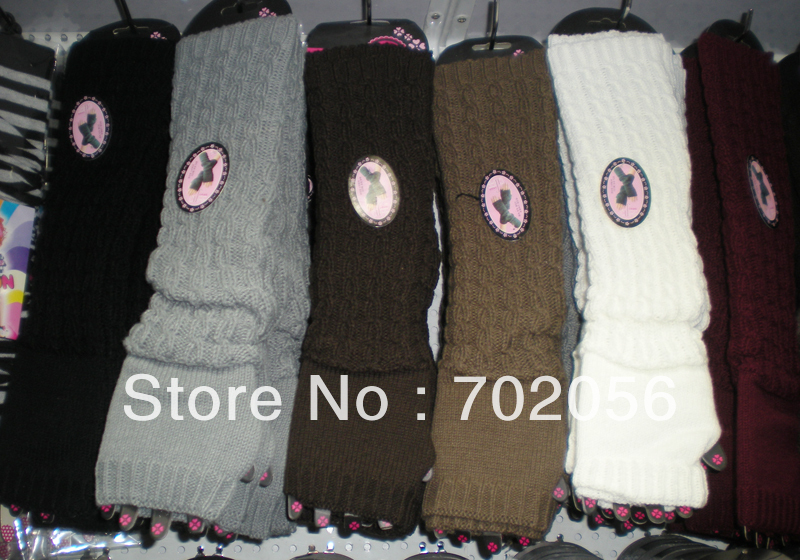 Luxury Winter Solid Knitted Twist Arm Warmers Fingerless Long Gloves 24 Pairs/lot Mixed Colors #3418