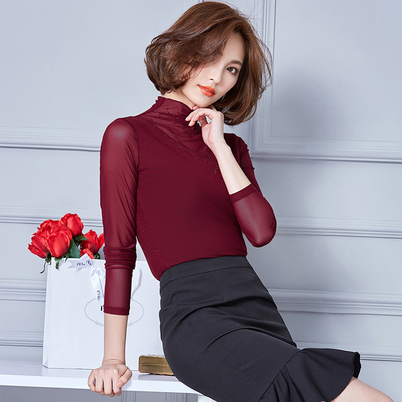 New Arrival Women Blouses 2017 Autumn Fashion Casual Solid Slim Long Sleeve Shirt M-3XL Plus Size Tops Female Blouses 801C 25