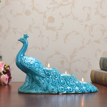 Europe Style Creative Fashion home decoration ceramic crafts Peacock Sculputres porcelain figurine Candle Holder Wedding Gift