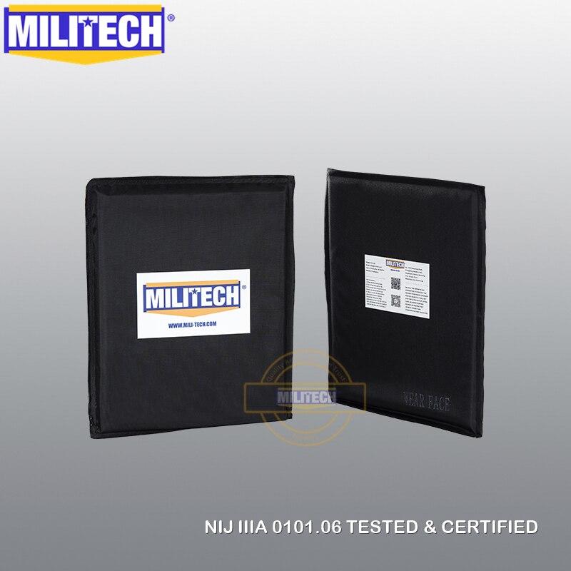 MILITECH 8x10 & 6x6 paires Set aramide panneau balistique plaque pare-balles Inserts armure corporelle armure souple NIJ niveau IIIA 3A