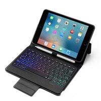 mini wireless bluetooth 4.0 Bluetooth Wireless Keyboard Case for iPad Mini 5/iPad mini 4, Premium PU Leather Folio Flip Cover with 7 color blacklight (1)