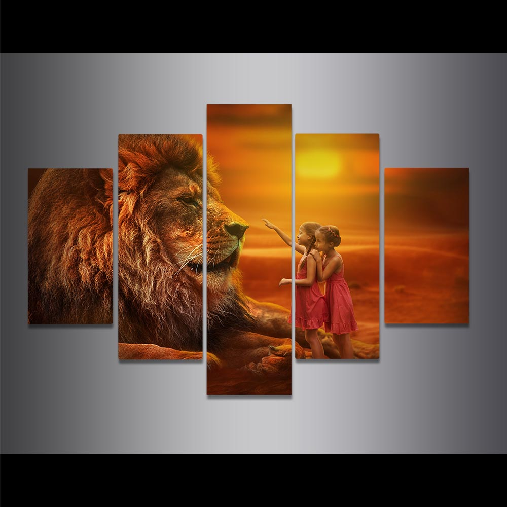 Unframed Canvas Painting Hazy Dusk Lion And Little Girl Art Picture Prints Wall Picture For Living Room Wall Art Decoration