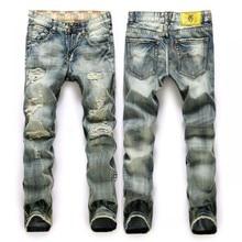 New Retro Long Trousers Jeans Men Fashion Frazzle Casual Straight Legged Denim Pants Brand Large Size Jeans Homme Biker Jeans