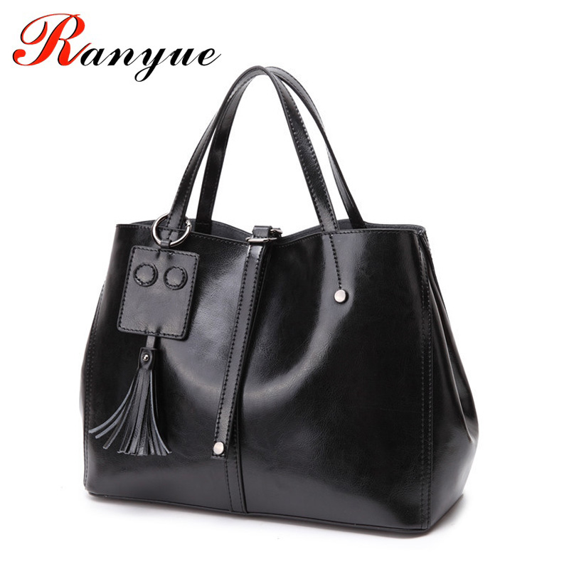RANYUE Genuine Leather Bags Women Vintage Real Leather Tote Bags For Women Large Cow Luxury Handbags Women Bags Designer 2018 large leather vintage tote bags women