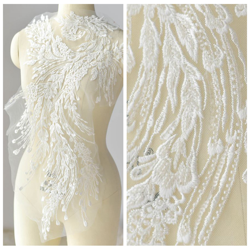 1Piece Ivory Lace Applique Sequins Fabric Embroidered Polyester Collar Patches Collars Home Decoration Accessories
