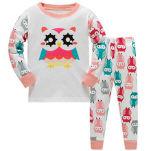 Купить с кэшбэком 3-8 years baby Owl Giraffe Pattern 2019 new design baby girls pajamas sets 100% cotton high quality pyjamas kids