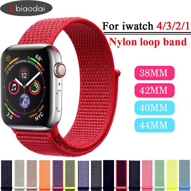 Lbiaodai Sport Loop ремешок Для Apple Watch band Apple watch 4 3 correa iwatch band 42мм 38мм 44мм 40мм браслет на руку Плетеный нейлон