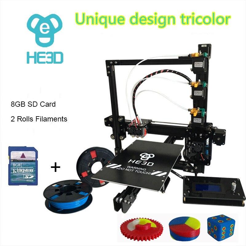 HE3D EI3 триколор DIY 3D принтер 24 В источника питания _ auto level _ Размер Большой сборки 200*280 * 200mm_three металлический экструдеры
