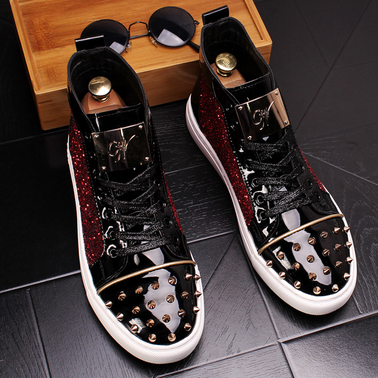 CuddlyIIPanda Men Fashion Punk Sneakers Metal Casual Platform High Top Shoes Flat Martin Boots Male Rivets Prom Shoes Zapatillas 9