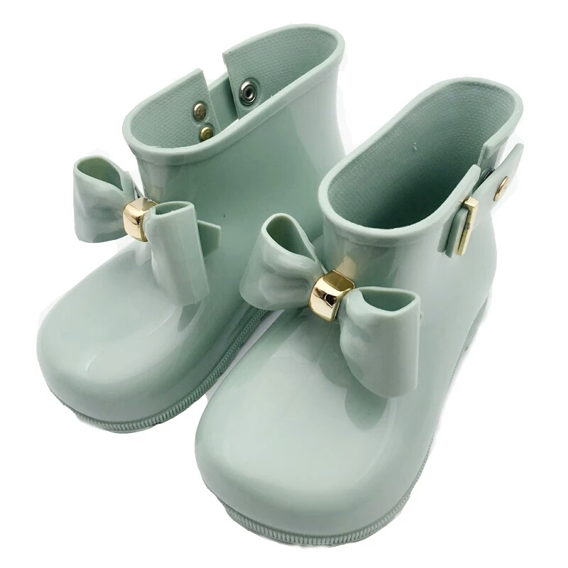 hot Mini Melissa 2018 Children Bow Boots Girls Jelly Water Boots Princess Shoes Anti-Skid Soft Boots Melissa Girls 4Color Shoes
