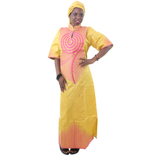 MD 2019 new africa dresses with headwrap two piece african dress for women print traditional womens clothing