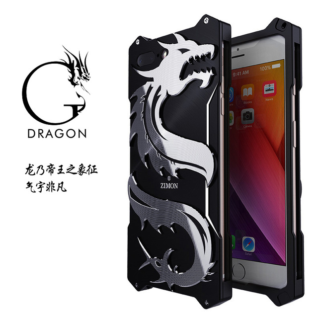 the latest c82ff 4a7c2 US $19.99  Zimon for Apple Iphone 6 6S 7 8 P LUS Case Aluminum Metal Armor  Shockproof for Iphone 8 8plus Dragon Phone Cover-in Half-wrapped Case from  ...