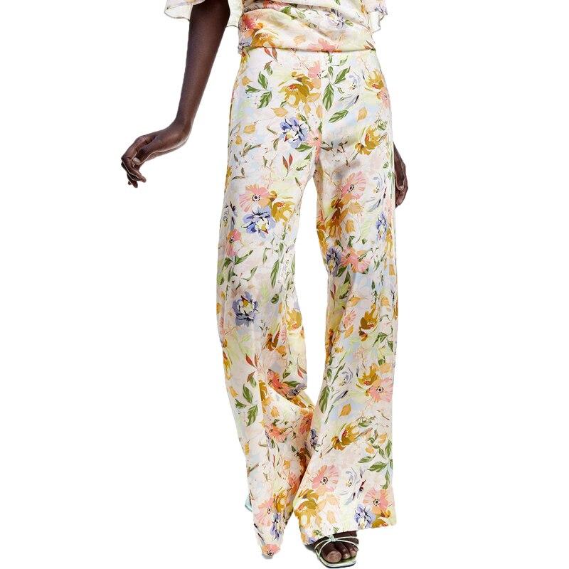 Summer   pants   women new casual trousers women high waist   pants   printing womens clothing 2019   wide     leg     pants