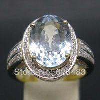 7.42CT SOLID 14kt Yellow GOLD NATURAL AQUAMARINE . ENGAGEMENT RING