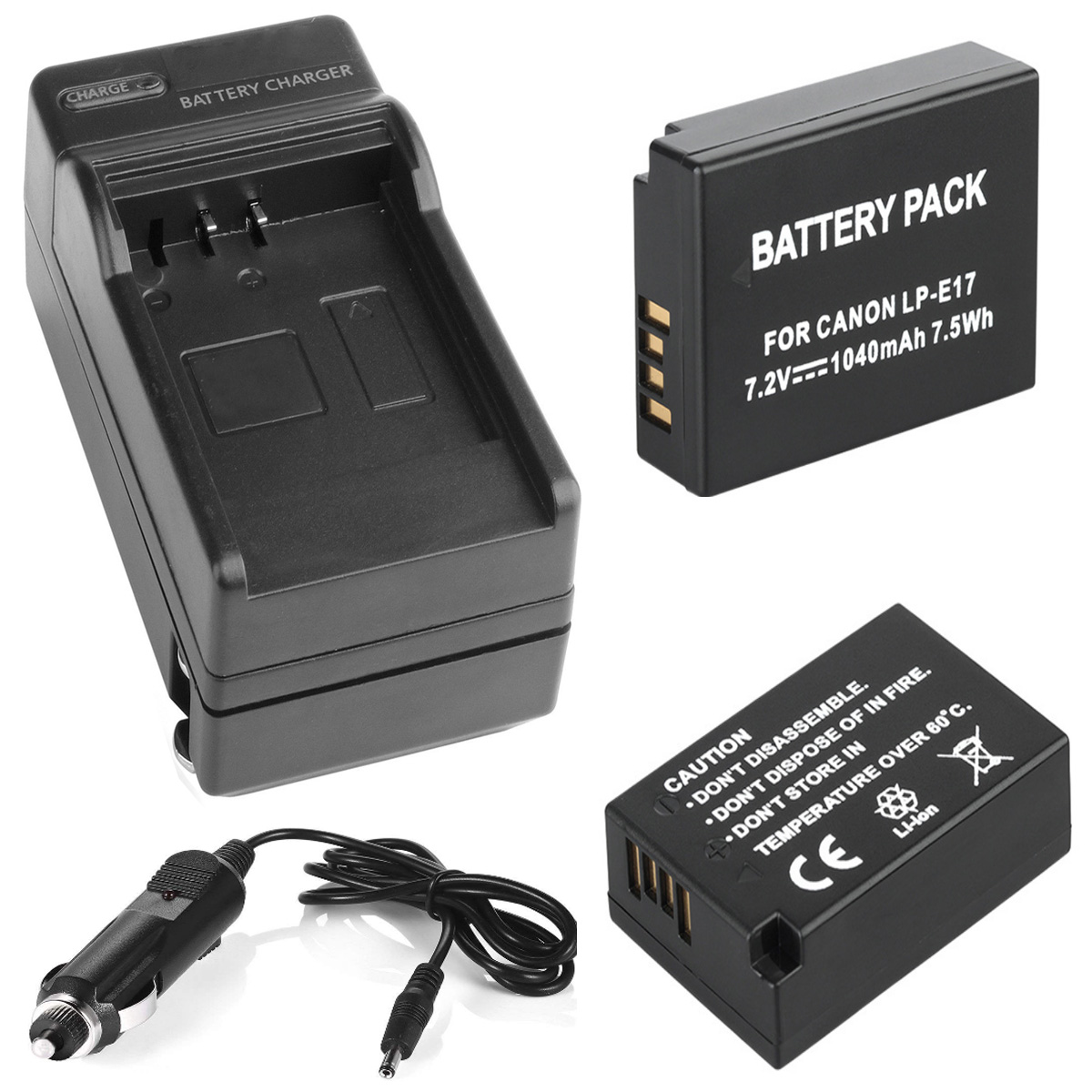 LP E17 Battery (2) + Charger For Canon EOS 77D,200D,750D,760D,800D, 8000D,9000D, EOS Rebel SL2, T6s, T6i, T7i Digital SLR Camera