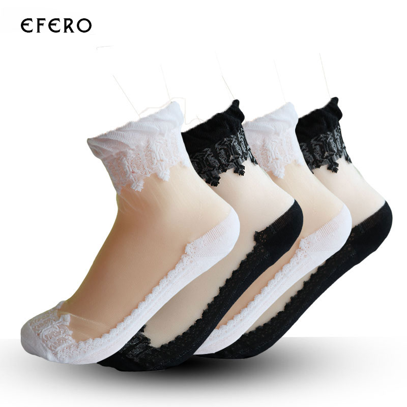 5Pair Ultrathin Transparent 2017 Womens   Socks   Solid Colors Sexy Crystal Lace Elastic Breathable 3D Short   Socks   Casual Short   Sock