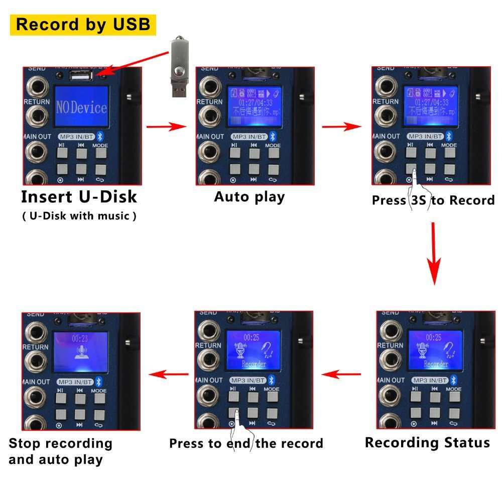 Freeboss SMR6 Bluetooth USB Merekam 2 Mono + 2 Stereo 6 Saluran 3 Band EQ 16 DSP Efek USB Profesional audio Mixer