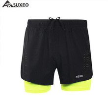 ARSUXEO Mens 2 in 1 Running Shorts Quick Dry Marathon Training Fitness Cycling Sports  3
