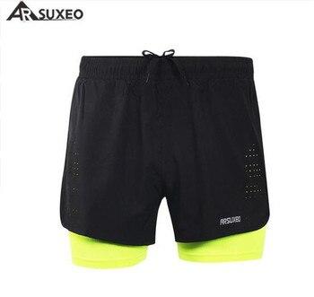 Pantalones cortos para correr 2 en 1 de ARSUXEO para hombre, entrenamiento de maratón de secado rápido, Fitness, correr, ciclismo, deportes, pantalones cortos 3
