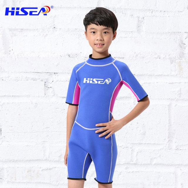 Hisea Short Sleeve Kids Wetsuit Boys Gilrs Surfing Scuba Diving Swimsuit Neoprene Keep Warm One Piece Children Snorkeling Suit