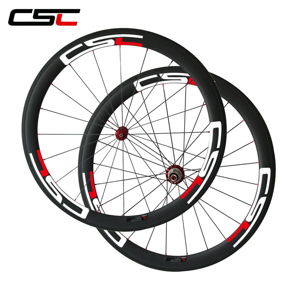 CSC Bicycle Wheelset 23mm width 50mm carbon fiber road bike clincher wheels with Powerway R36 carbon