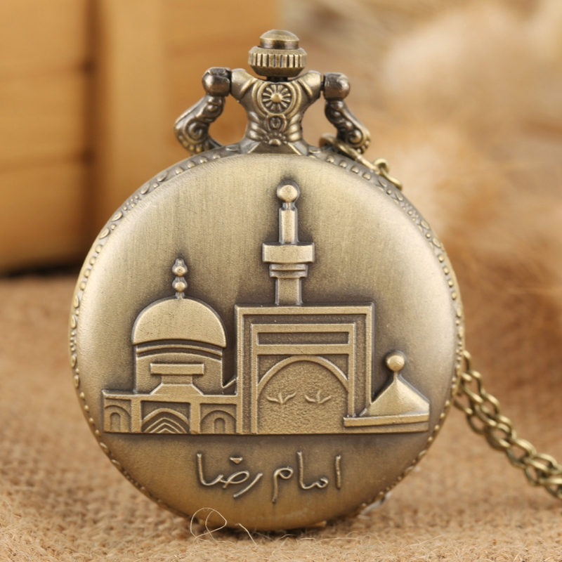 Retro Bronze Castle Building Design Quartz Pocket Watch Round Dial Necklace Pendant Chain Jewelry Art Collectibles For Men Women