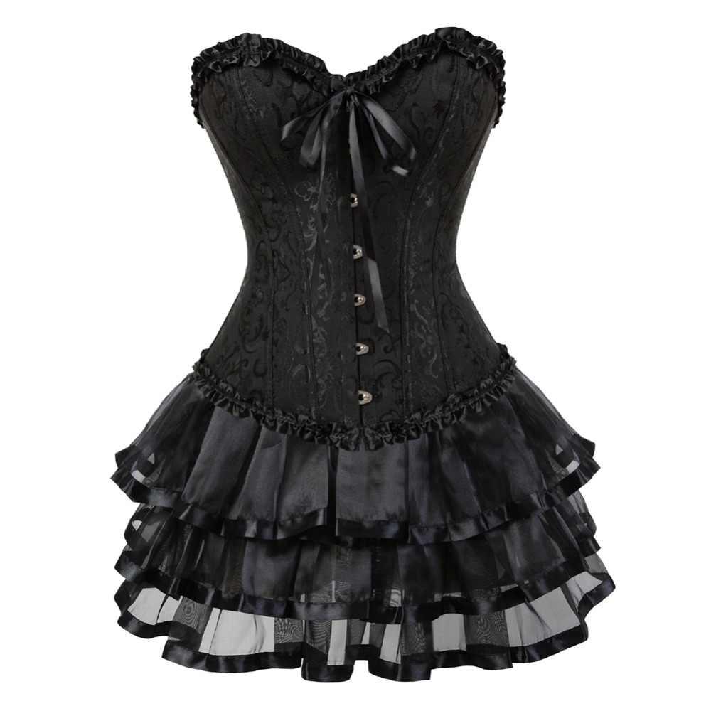 9ebef4f38e76 caudatus corset skirts tutu for women party bustier overbust corset dress  costume floral plus size lady