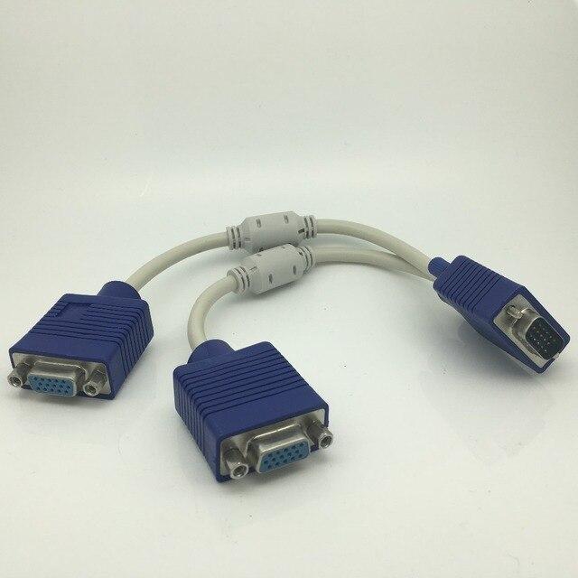VGA 15 broches PC SVGA mâle à 2 Double Double femelle moniteur Y adaptateur câble répartiteur 20cm Vga mâle à Vga femelle ordinateur de gros