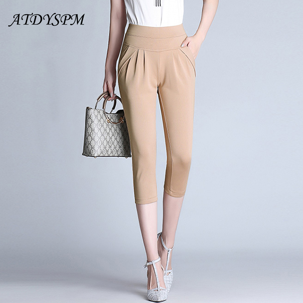 2019 summer women's casual   pants     capris   new fashion plus size 4XL high stretch harem   pants   loose comfortable women   capris