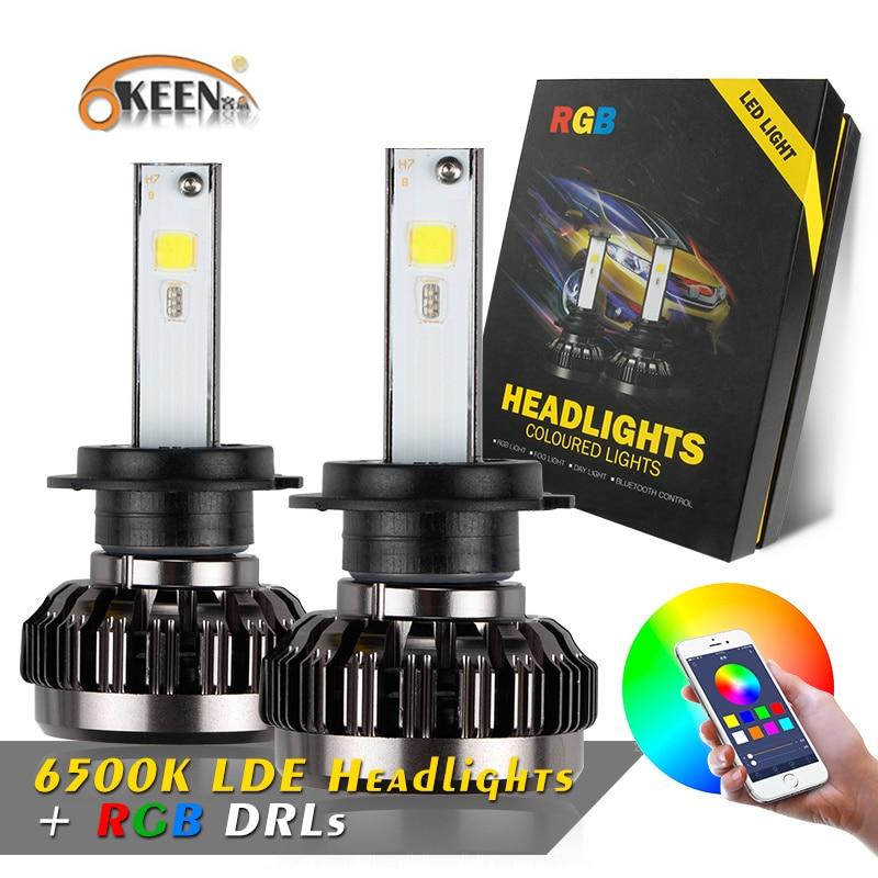 OKEEN RGB H4 H7 H11 LED H1 H3 9005 9006 headlight Bulbs APP Bluetooth Control Car Auto Headlamp Fog Light 12v Multi color 40W