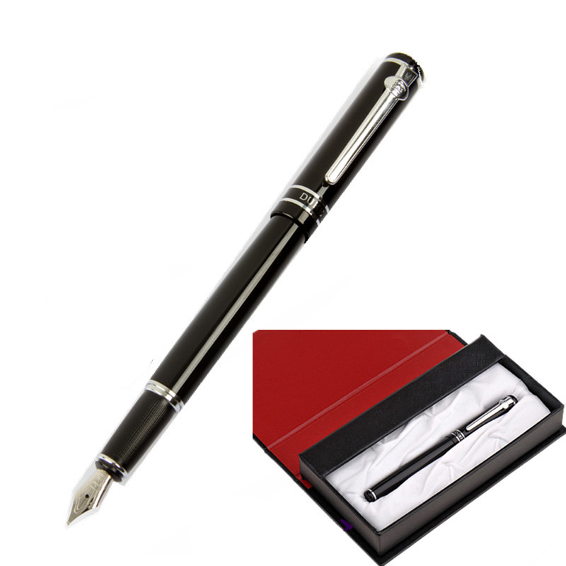 Luxury Gift Case Pen Duke M06 Pure Smooth Black and Silver Clip Fountain Pen with 0.5mm Nib Metal Ink Gift Pens Office Supplies italic nib art fountain pen arabic calligraphy black pen line width 1 1mm to 3 0mm