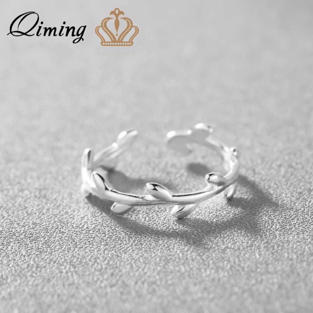 QIMING 2019 Lovely Leave Design Solid Silver Jewelry Adjustable Wedding Jewelry Women Rings for Party Leaf Ring
