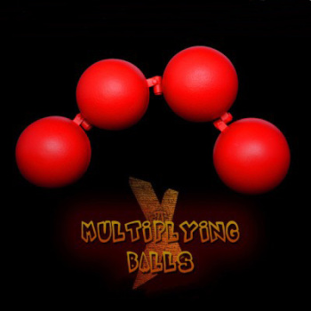 Multiplying Balls (Metal,Red color) One to Four Balls Magic Tricks For Professional Magician Stage Illusion Gimmick Accessories