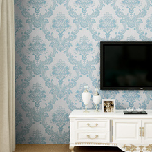 Non-woven european glossy stylish blue beige white modern damask wallpaper living room modern luxury wall paper for bedroom D43
